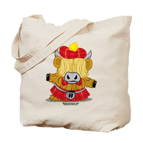 Highland Cow Red Kilt Tote Bag