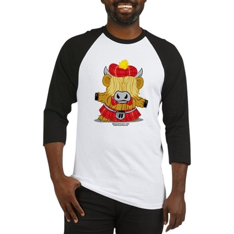 Highland Cow Red Kilt Baseball Jersey