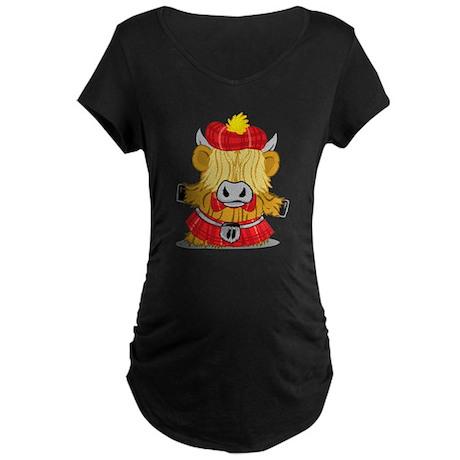 Highland Cow Red Kilt Maternity Dark T-Shirt