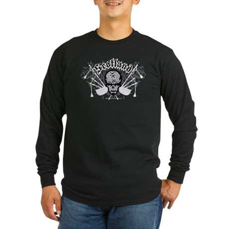 Scotland Skull And Pipes Long Sleeve Dark T-Shirt