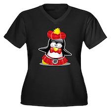 Penguin Red Kilt Women's Plus Size V-Neck Dark T-S