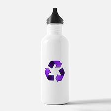 Purple Recycling Symbol Water Bottle