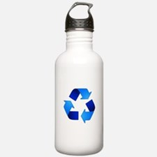 Blue Recycling Symbol Water Bottle