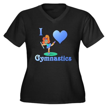 I Love Gymnastics #1 Women's Plus Size V-Neck Dark