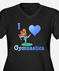 I Love Gymnastics #1 Women's Plus Size V-Neck Dark