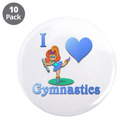 "I Love Gymnastics #1 3.5"" Button (10 pack)"