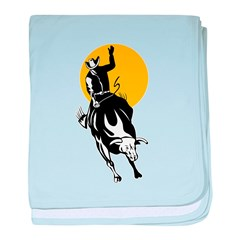 Rodeo cowboy bull riding Infant Blanket