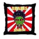 ZOMBIE-BRAINS-SMILE Throw Pillow