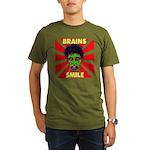 ZOMBIE-BRAINS-SMILE Organic Men's T-Shirt (dark)