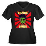 ZOMBIE-BRAINS-SMILE Women's Plus Size V-Neck Dark