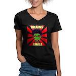 ZOMBIE-BRAINS-SMILE Women's V-Neck Dark T-Shirt