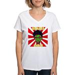 ZOMBIE-BRAINS-SMILE Women's V-Neck T-Shirt