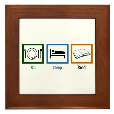 Eat Sleep Read Framed Tile