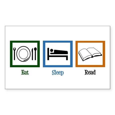Eat Sleep Read Sticker (Rectangle)