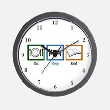 Eat Sleep Read Wall Clock