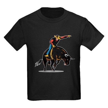 Rodeo cowboy bull riding Kids Dark T-Shirt