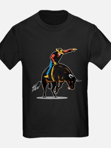 Rodeo cowboy bull riding T