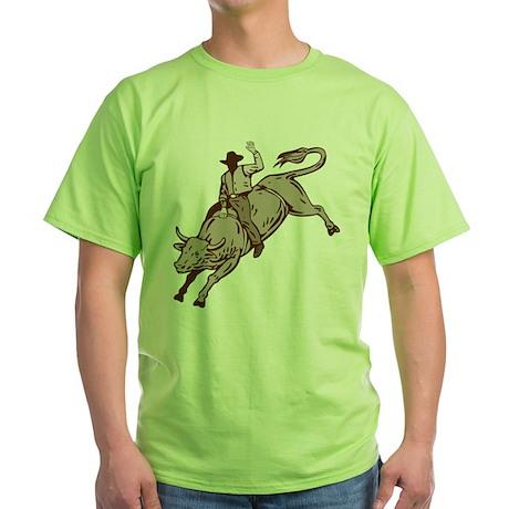 Rodeo cowboy bull riding Green T-Shirt