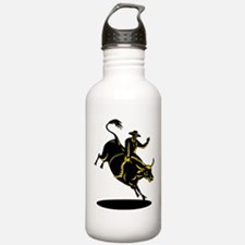 Rodeo cowboy bull riding Water Bottle