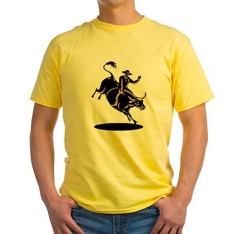 Rodeo cowboy bull riding Yellow T-Shirt