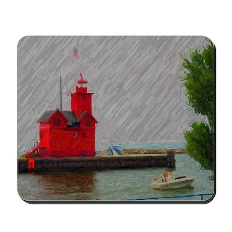 Big Red Lighthouse Michigan Mousepad