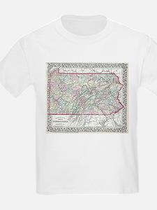 Vintage Map of Pennsylvania (1874) T-Shirt