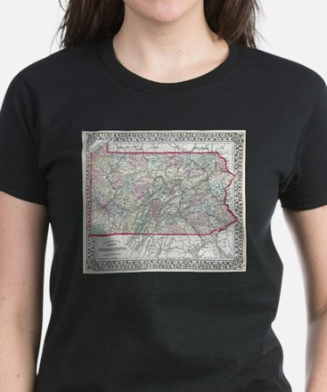 Vintage Map of Pennsylvania (1874) T-Shirt