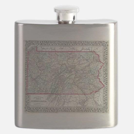 Vintage Map of Pennsylvania (1874) Flask