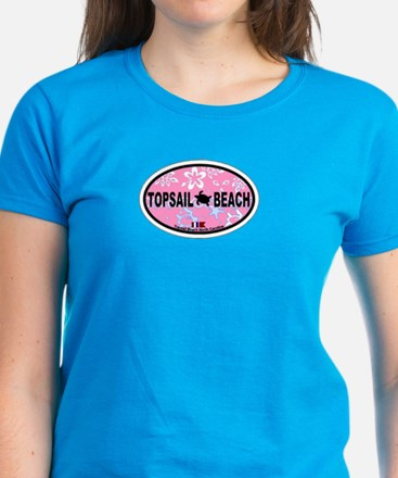 Topsail Beach NC - Oval Design Women's Dark T-Shir