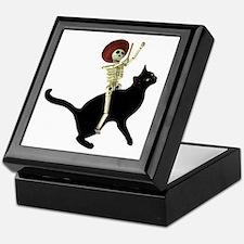 Skeleton on Cat Keepsake Box