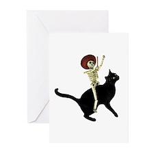 Skeleton on Cat Greeting Cards (Pk of 20)