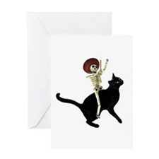 Skeleton on Cat Greeting Card