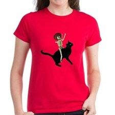 Skeleton on Cat Tee
