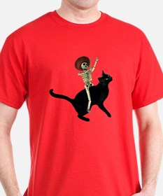 Skeleton on Cat T-Shirt