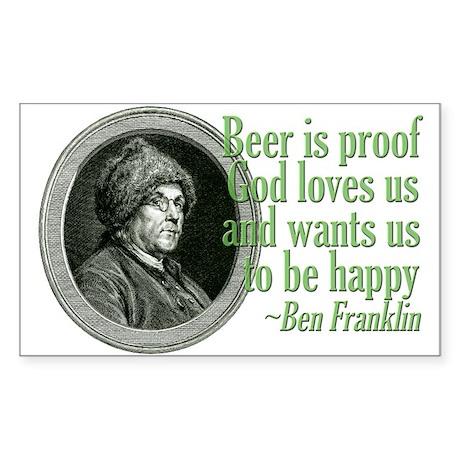 Beer, Love, God Sticker (Rectangle)