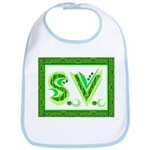 """Green initials """"S.V."""" on Bib"""