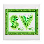 "Green initials ""S.V."" on Tile Coaster"