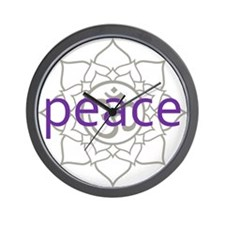 peace Om Lotus Blossom Wall Clock