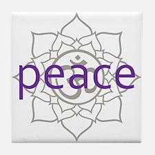 peace Om Lotus Blossom Tile Coaster