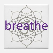 breathe Om Lotus Blossom Tile Coaster