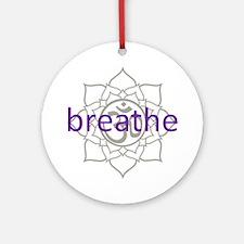 breathe Om Lotus Blossom Ornament (Round)