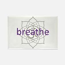breathe Om Lotus Blossom Rectangle Magnet (10 pack