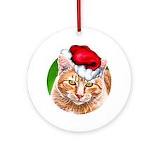 Meowy Christmas Tabby Ornament (Round)