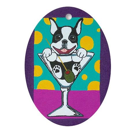Boston Terrier Martini Oval Ornament