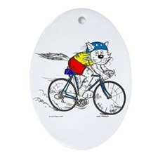 Bicycle Cat Ornament (Oval)