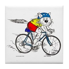 Bicycle Cat Tile Coaster