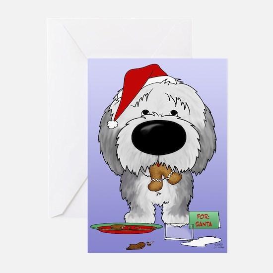 Sheepdog Santa's Cookies Greeting Cards (Pk of 20)