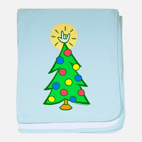 ILY Christmas Tree Infant Blanket