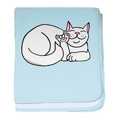White ASL Kitty Infant Blanket