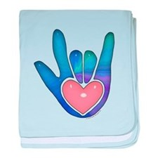Blue/Pink Glass ILY Hand Infant Blanket